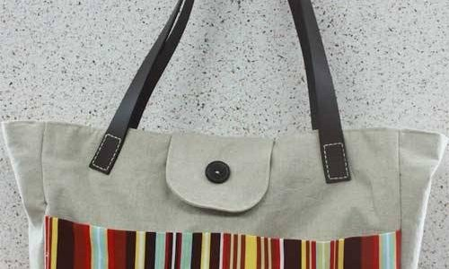 Tote bag with leather straps Pattern