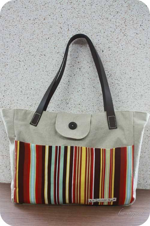 Tote bag with leather straps - Free Sewing Tutorial - Love to Sew