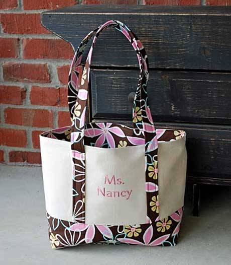 This tote bag is easy to make and can be personalized by adding some machine embroidery to the front panel.