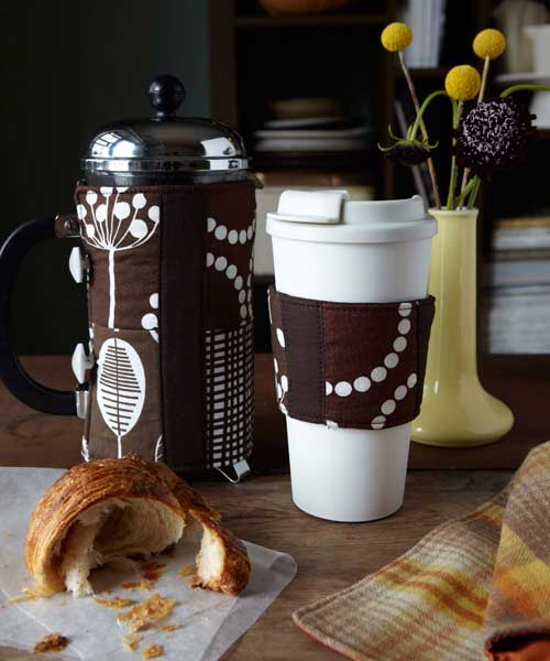 Free Sewing Pattern and Tutorial - French Press  and Coffee Cup Cozies