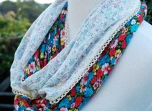 Floral and Lace Infinity Scarf – Free Sewing Tutorial