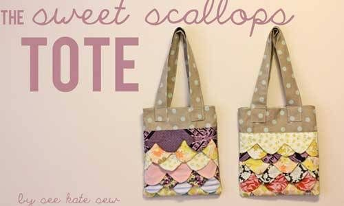 Free Tote Bag Pattern and Tutorial - Sweet Scallops Tote