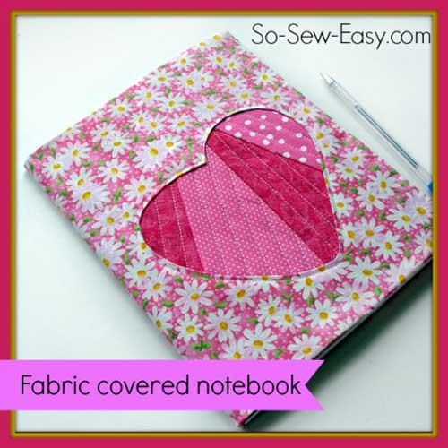 Free Book Cover Design Tutorial ~ Fabric covered notebook with applique free sewing