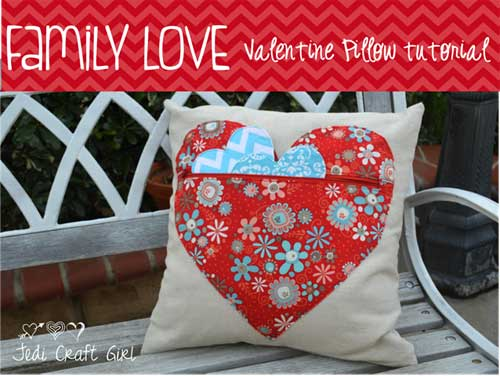 Family Love Valentine Pillow - Free Sewing Tutorial