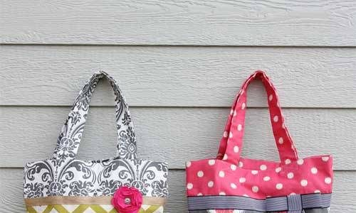 Free Tote Bag Pattern and Tutorial - Two-Tone Fabric Tote