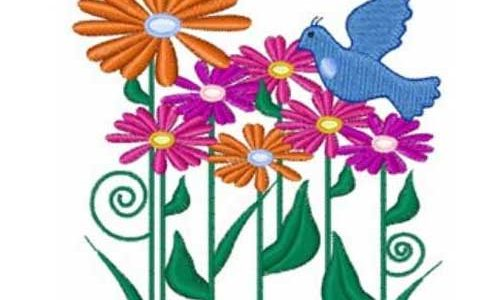 Flower And Bird – Free Embroidery Design