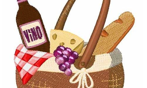 Wine & Cheese Basket – Free Embroidery Design