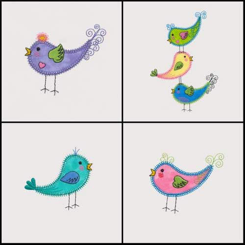 Tweet Birds Machine Embroidery Design Collection