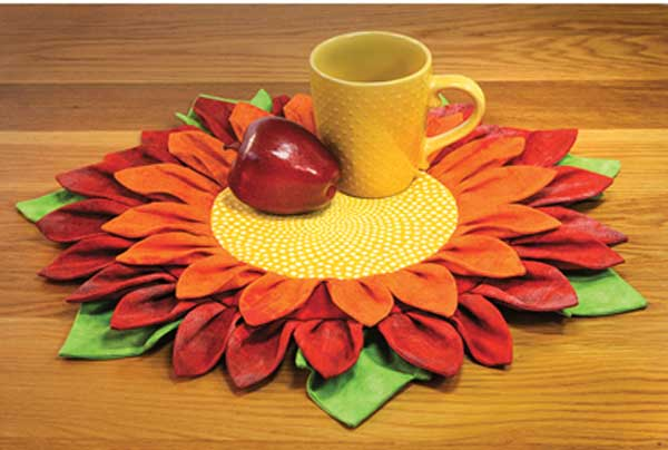 Create pot holders, mug rugs or several sizes of table mats from two circles and a simple petal shape.