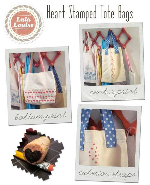 Heart Stamped Tote
