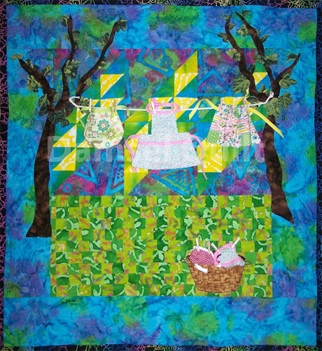 Aprons on the Clothesline Art Quilt