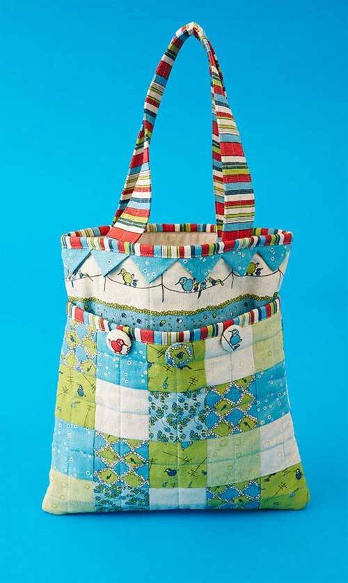 Free Bag Pattern and Tutorial - Patchwork and Prairie Points Bag