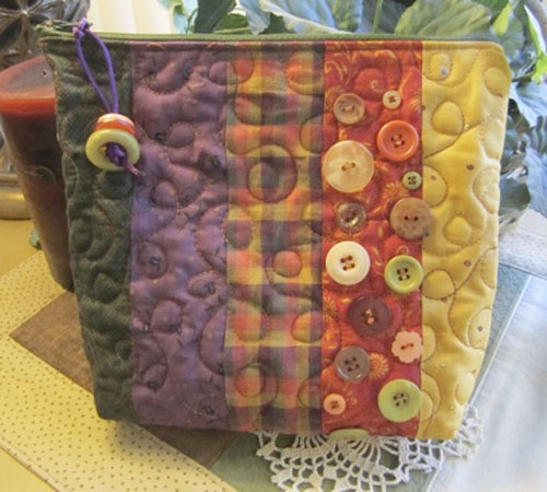 Zippered Bag with Buttons