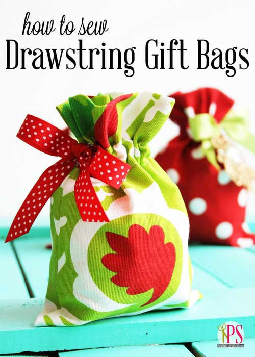 Drawstring Gift Bags - Free Sewing Tutorial