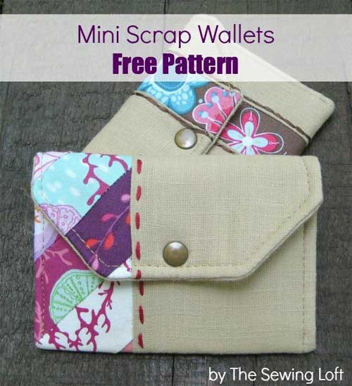 Free Sewing Pattern - Mini Scrap Wallets
