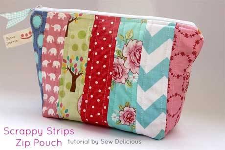 Scrappy Fabric Strip Zipper Pouch