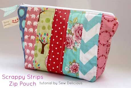 Scrappy Fabric Strip Zipper Pouch