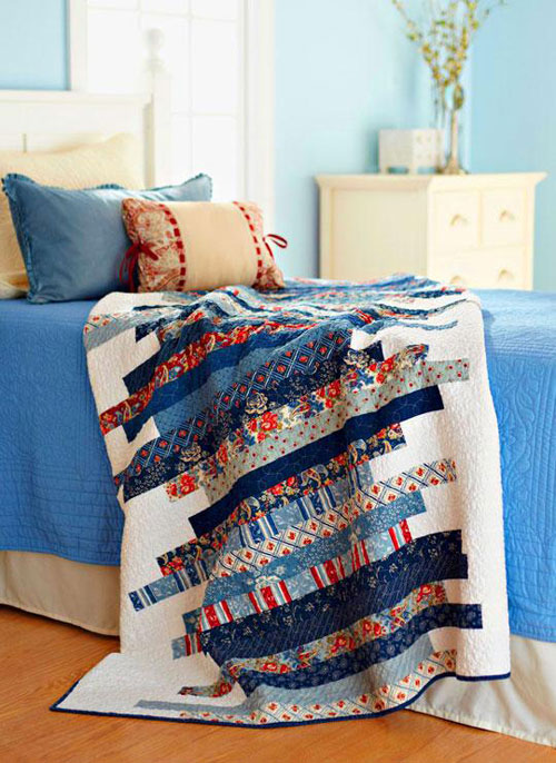 Stitch an easy-to-sew quilt using a variety of precut 2-1/2″-wide strips.