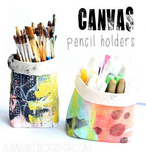 Free Sewing Pattern and Tutorial - Canvas Pencil Holders Tutorial