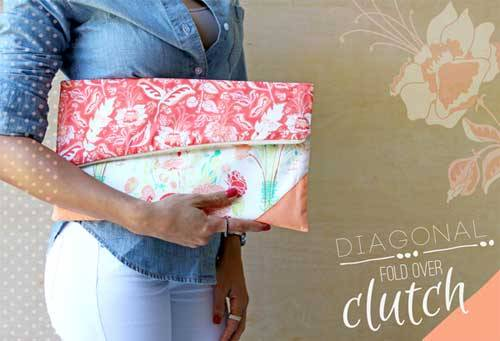 Diagonal Fold Over Clutch - Free Sewing Tutorial