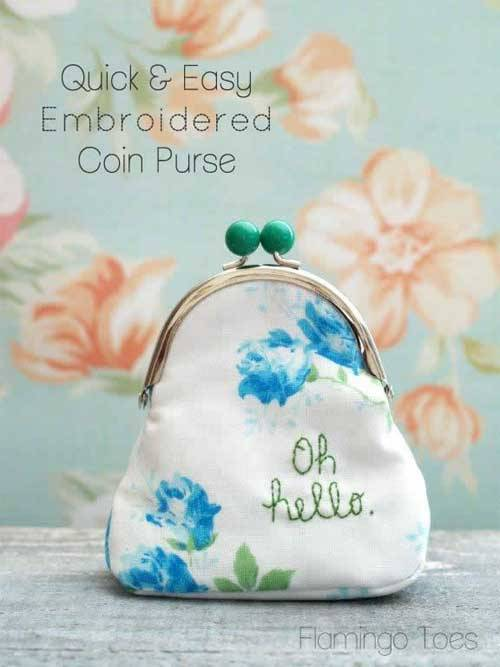 Free Purse Pattern and Tutorial - Embroidered Coin Purse