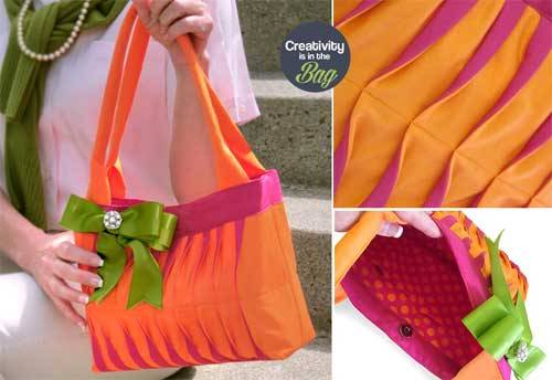 Free Bag Pattern and Tutorial - Preppy Wave Tucked Handbag