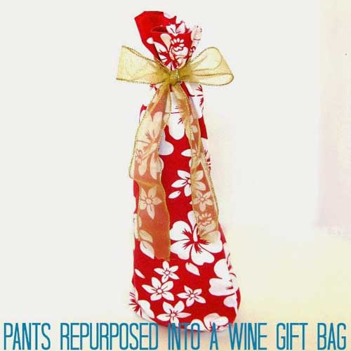 Upcycled Wine Gift Bag - Free Sewing Tutorial