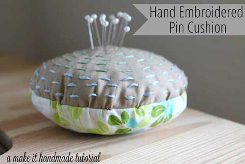 Free Sewing Pattern and Tutorial - Hand Embroidered Pin Cushion