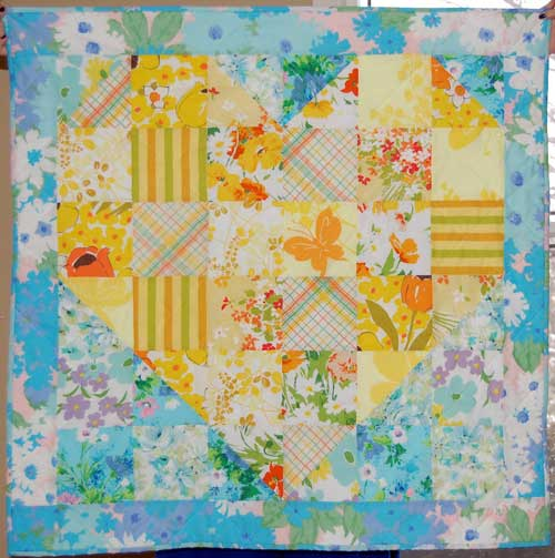 Vintage Sheet Heart Shaped Baby Quilt Free Quilt Pattern