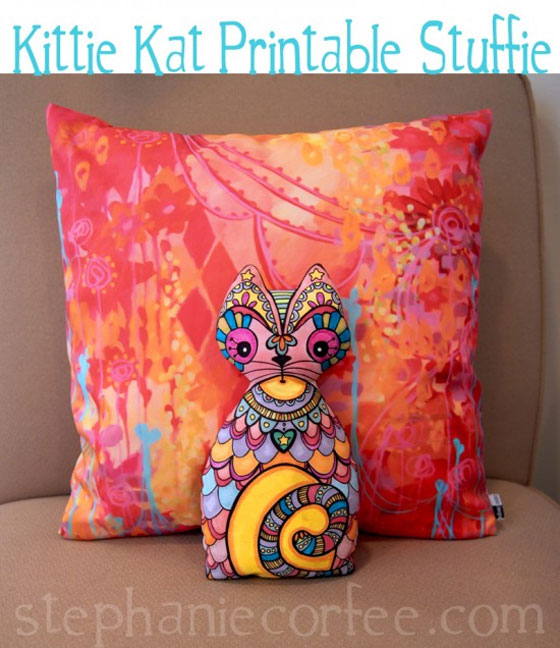 Free Sewing Pattern and Printable Design: Kittie Kat Stuffie