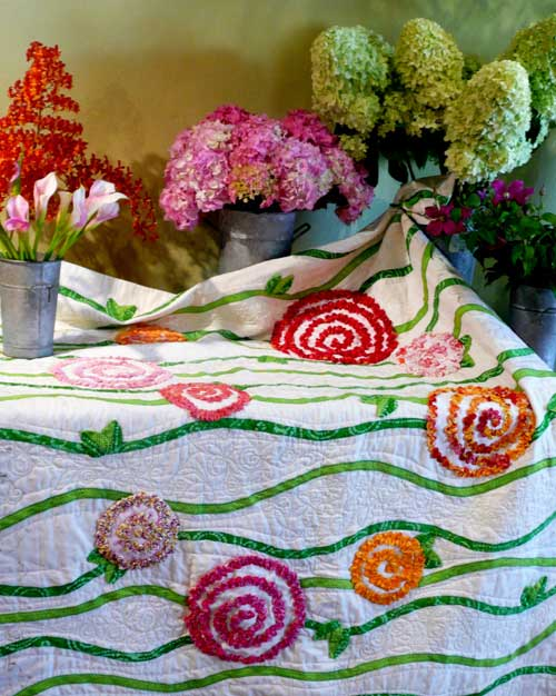 Free Quilt Pattern - Radically  Ruched  Roses Quilt