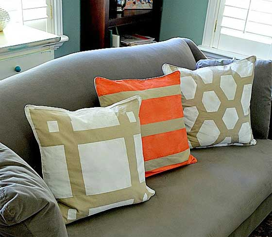 Taped and Painted Pillows Tutorial