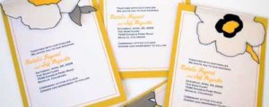 How to make sewn fabric flower and loose leaf wedding invitations