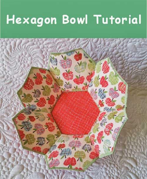 Hexagonal Fabric Bowl - Free Sewing Pattern