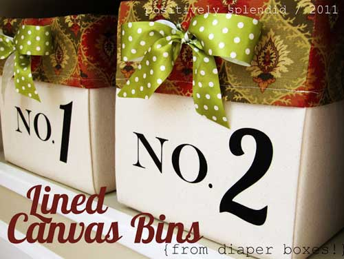 Lined Canvas Bins - Free Sewing Pattern