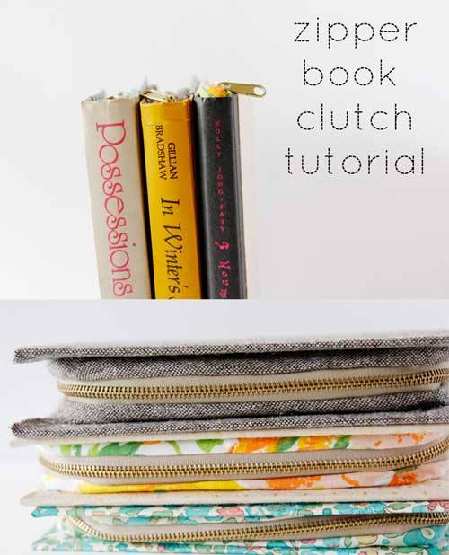 Zippered Book Cover Pattern Free : Zipper book clutch free sewing tutorial