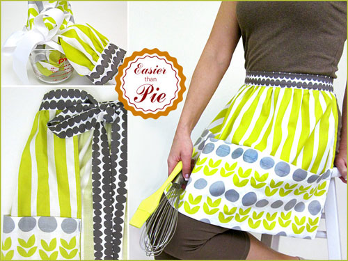This apron is easy to make and has three jumbo pockets can hold utensils or recipe cards.