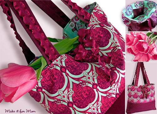 Market Tote With Ruffly Ribbon Handles & Ties