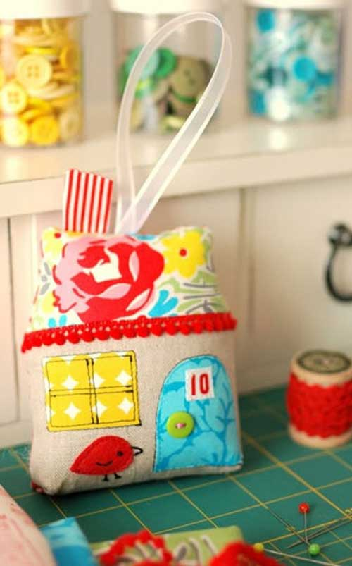 This cute little fabric house ornament is fun and quick to make and would also be perfect to use as a pincushion.
