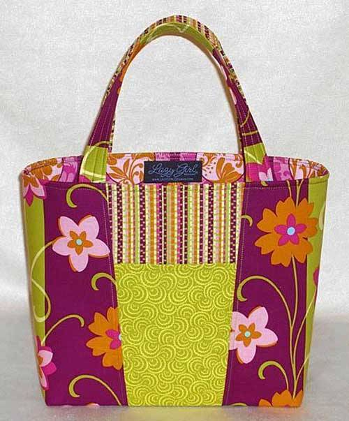 This bag is fun to make using two fabrics that are stacked, cut, then swapped around.