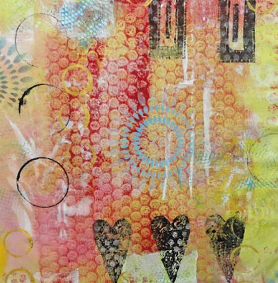 Free Tutorial: Layered Monoprinted Collage Painted Fabric