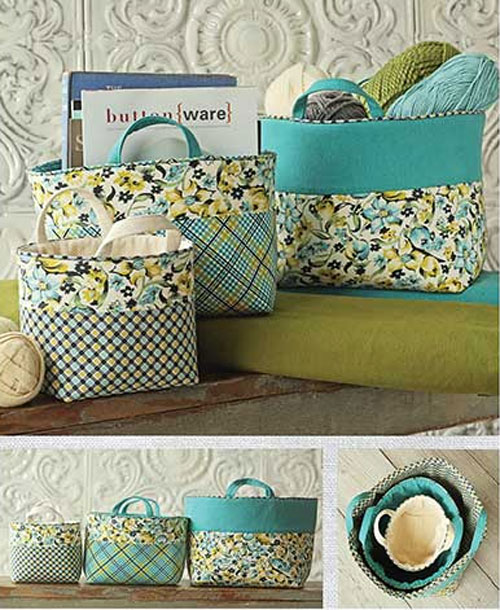 These fabric baskets are perfect for storing your sewing tools and supplies