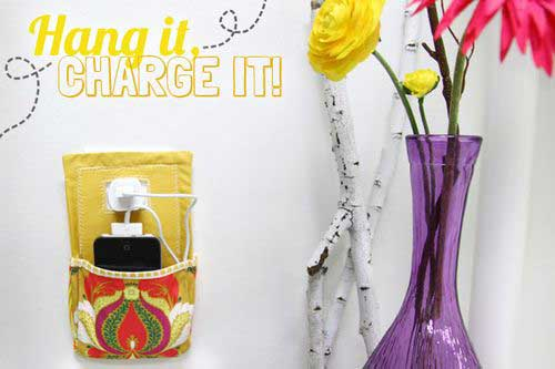 Free Sewing Pattern and Tutorial - Hang it, Charge it Phone Pocket