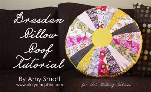 This Dresden inspired circle pillow looks bright and cheerful made up using coordinating fat quarters.