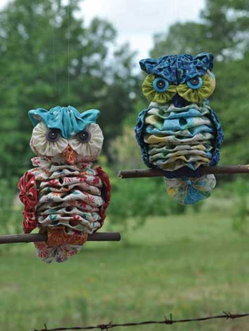 These cute owls are fun and easy to make using fabric yo-yos.