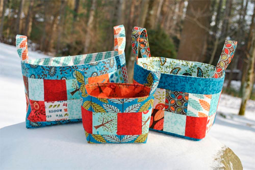 Fill these fabric baskets with goodies and give them as gifts, or use them to organize items around your house.