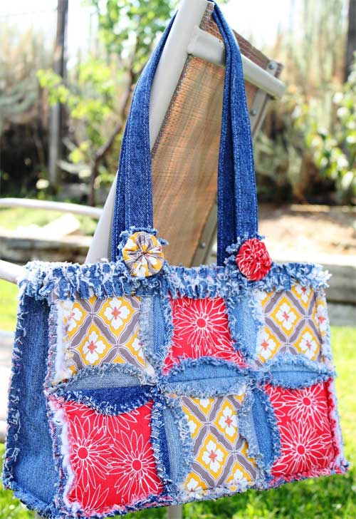 Recycle your denim jeans into this Denim Circle Rag Bag from Accuquilt.