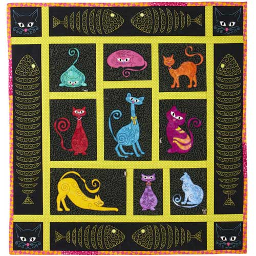 Stipple Sassy Cats Quilt Block Embroidery Design Collection by Katherine Artines