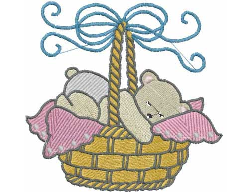 Baby Bear Basket - Free Embroidery Design