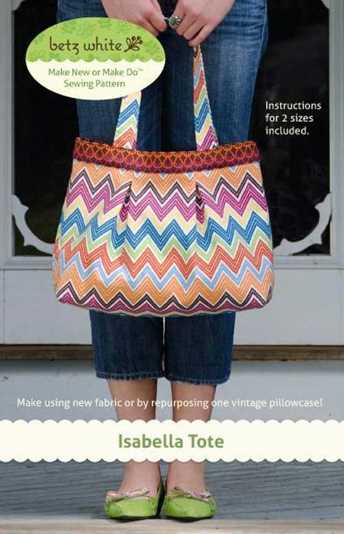 This bag comes in two sizes and is easy to make using a fresh yard of pretty printed fabric.